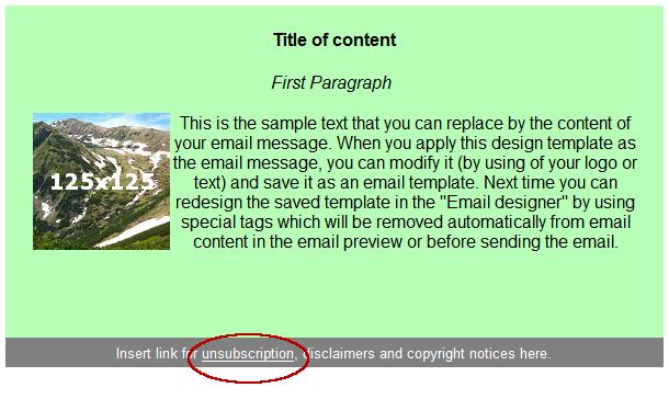Odhlášení příjemce kliknutím na link