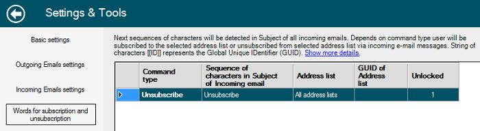 Odhlášení se příjemce použitím speciálního slova v subjektu emailu.